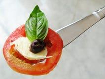 Mozzarella de tomate sur le couteau Photographie stock libre de droits