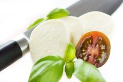 Mozzarella e bazil Fotografia Stock