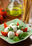 Mozzarella e tomates Fotografia de Stock
