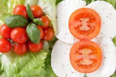 Mozzarella-Endentomate des Focaccia Whit caprese lizenzfreies stockfoto