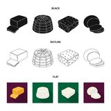 Mozzarella, feta, cheddar, ricotta.Different types of cheese set collection icons in black,flat,outline style vector. Symbol stock illustration Royalty Free Stock Photos