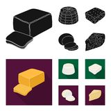 Mozzarella, feta, cheddar, ricotta.Different types of cheese set collection icons in black, flat style vector symbol. Stock illustration Stock Images