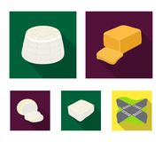 Mozzarella, feta, cheddar, ricotta.Different types of cheese set collection icons in flat style vector symbol stock. Illustration Stock Photo