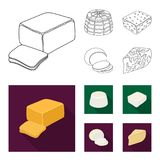 Mozzarella, feta, cheddar, ricotta.Different types of cheese set collection icons in outline,flat style vector symbol. Stock illustration Royalty Free Stock Photos