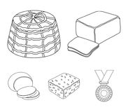 Mozzarella, feta, cheddar, ricotta.Different types of cheese set collection icons in outline style vector symbol stock. Illustration Royalty Free Stock Photo