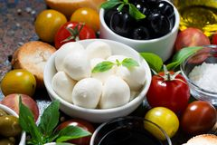 Mozzarella, fresh ingredients for the salad and bread Royalty Free Stock Photography