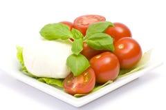Mozzarella and fresh tomatoes Stock Images