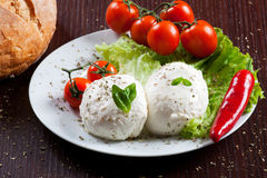 Mozzarella, Gemüse und Tomaten Stockbilder