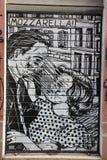 Mozzarella graffiti. Street Art in Rome representing a couple Stock Image