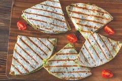 Mozzarella and guacamole quesadillas stock photo