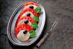 Mozzarella, högg av tomater, basilika och oliv arkivfoton