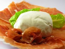 Mozzarella and ham Stock Images