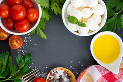 Mozzarella, ingredients for the salad and black background Royalty Free Stock Images