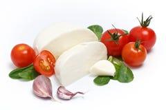 Mozzarella, lettuce and garlic Royalty Free Stock Photo