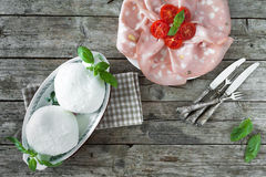 Mozzarella, Mortadella And Cherry Tomatoes Royalty Free Stock Photo
