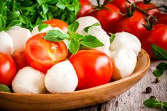 Mozzarella, organic cherry tomatoes and fresh basil closeup Stock Photography