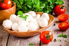 Mozzarella, organic cherry tomatoes and fresh basil Royalty Free Stock Images