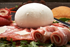 Mozzarella and pepperoni Royalty Free Stock Images