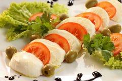 Mozzarella plate Stock Image
