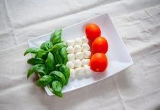 Mozzarella, pomidor, basil w kolorze włoch flaga fotografia stock