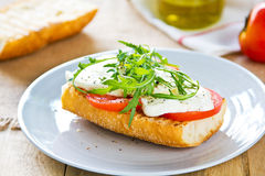 Mozzarella with rocket sandwich Royalty Free Stock Photography