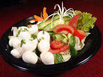 Mozzarella salad. Fresh tomato, cucumber, lettuce, carrot, onions royalty free stock photo
