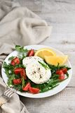 Mozzarella salad with arugula. Cherry tomatoes, lemon, seasoned with spices and olive oil stock photos