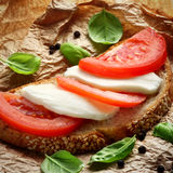 Mozzarella sandwich. Healthy sandwich with mozzarella cheese and tomatoes Royalty Free Stock Images