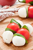 Mozzarella skewers Stock Image