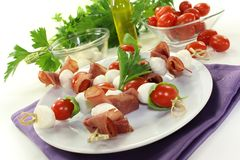 Mozzarella skewers Stock Photography