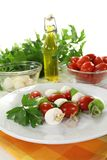 Mozzarella skewers Royalty Free Stock Images