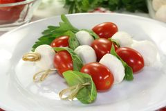 Mozzarella Skewers Stock Images