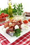 Mozzarella skewers Stock Photo