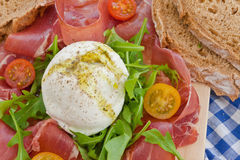 Mozzarella, Smoked Ham And Fresh Tomatoes Royalty Free Stock Image