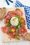 Mozzarella, smoked ham and fresh tomatoes Stock Photos