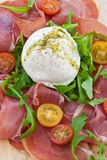 Mozzarella, smoked ham and fresh tomatoes Royalty Free Stock Image