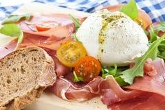 Mozzarella, smoked ham and fresh tomatoes Royalty Free Stock Images