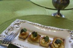 Mozzarella squares with cherry tomatoes and basil Royalty Free Stock Photos