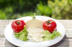 Mozzarella su un piatto con insalata ed i pomodori Fotografia Stock Libera da Diritti