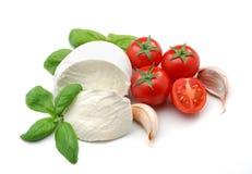 Mozzarella, Tomaten und Basilikum Stockbilder