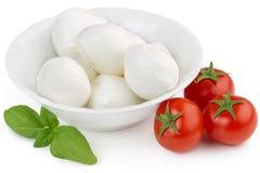 Mozzarella, Tomaten und Basilikum Stockfotos
