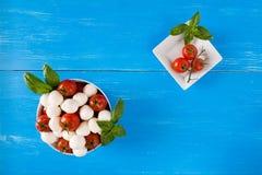 Mozzarella, tomates-cerises et basilic dans une cuvette vue d'en haut Image stock