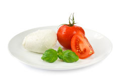 Mozzarella tomato and basil Royalty Free Stock Images