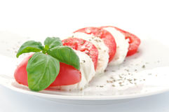 Mozzarella, tomato and basil Royalty Free Stock Images