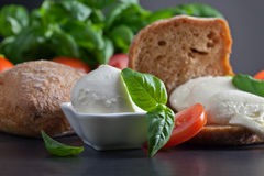 Mozzarella with tomato and basil Stock Images