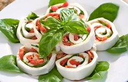 Mozzarella Tomato Basil Roll ups Royalty Free Stock Photos