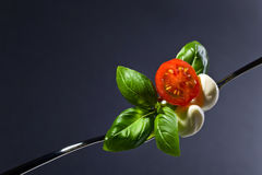 Mozzarella with tomato cherry and green basil . Mini mozzarella cheese with tomato cherry and green basil leaves on a fork . Healthy Mediterranean food.Copy Stock Image