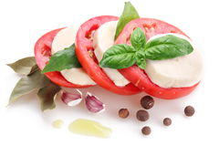 Mozzarella and tomatoes Stock Images
