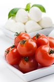 Mozzarella, tomatoes and basil Royalty Free Stock Photo