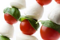 Mozzarella, tomatoes and basil Stock Photography